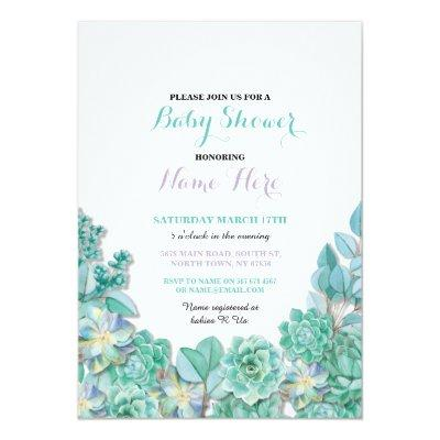 Baby Shower Party Succulents Floral Teal Invite