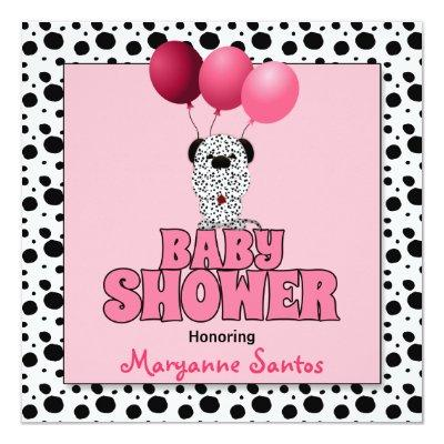 Baby Shower | Pink Dalmatian Puppy Invitations