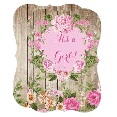 Baby Shower Pink Floral Rustic Wood Girl Invitations