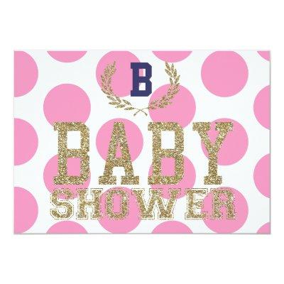 Baby Shower PINK Inspired Invitations Gold Glitter