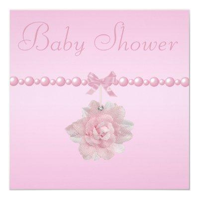Baby Shower Pink Rose, Shoes, & Jewel Pacifier Invitation