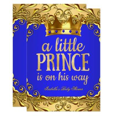 Baby Shower Prince on his way Gold Royal Blue Invitation
