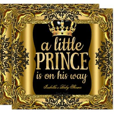 Baby Shower Prince on the way Gold Black Invitation