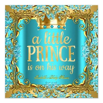 Baby Shower Prince on the way Gold Teal Aqua Invitations