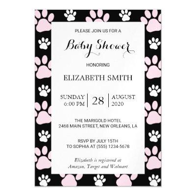 Baby Shower - Puppy Paws, Dog Traces - Pink Black Magnetic Invitation