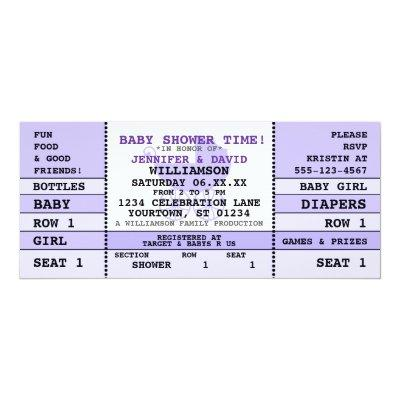 Baby Shower Purple Concert Ticket Invitations