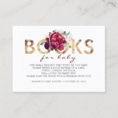 Baby Shower Request - Burgundy Red Floral Business Card