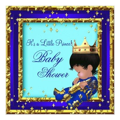 Baby Shower Royal Blue Gold Boy crown prince Stars Invitations