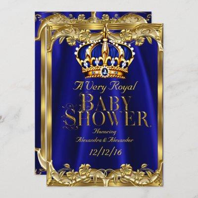 Baby Shower Royal Blue Navy Gold Crown Invitation