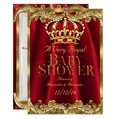 Baby Shower Royal Regal Red Gold Crown Invitation