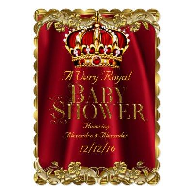 Baby Shower Royal Regal Red Gold Crown Invitations