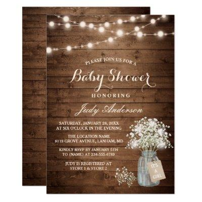 Baby Shower Rustic Baby's Breath Floral Mason Jar Invitations
