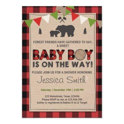 Baby Shower Rustic Lumberjack Baby boy shower Invitations