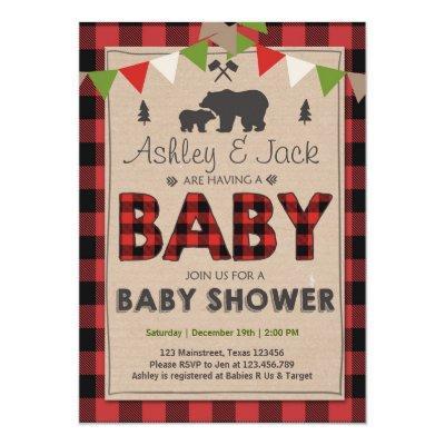 Baby Shower Rustic Lumberjack Outdoor Invitations