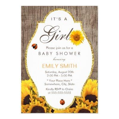 Baby Shower Rustic Sunflower Ladybug Country Girl Invitations