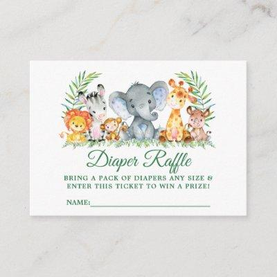 Baby Shower Safari Animals Diaper Raffle Ticket Enclosure Card