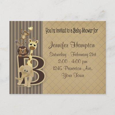 Baby Shower Safari in Browns Invitation Postcard
