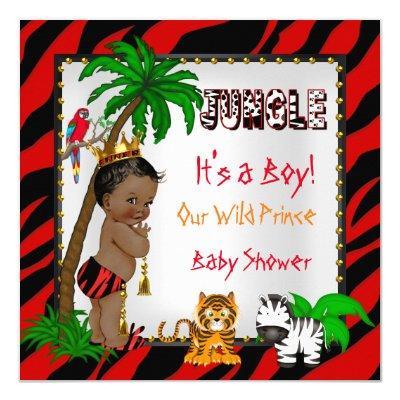 Baby Shower Safari Jungle Wild Prince Red Ethnic Invitations