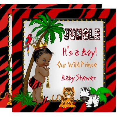 Baby Shower Safari Jungle Wild Prince Red Ethnic Invitation