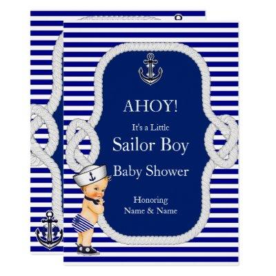 Baby Shower Sailor Boy Blue Stripe Blonde Invitation