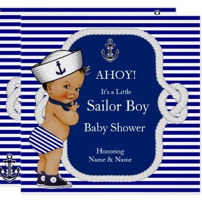 Baby Shower Sailor Boy Blue Stripe Brunette Invitations