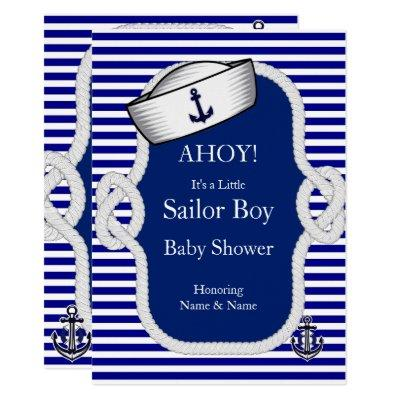 Baby Shower Sailor Hat Boy Blue Stripe Invitations