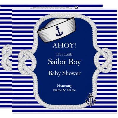Baby Shower Sailor Hat Boy Blue Stripe Invitation