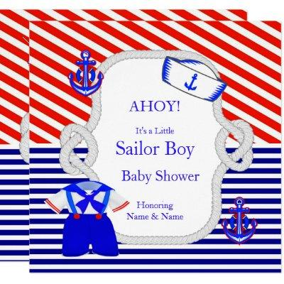 Baby Shower Sailor Suit Boy Red Royal Blue Stripe Invitation