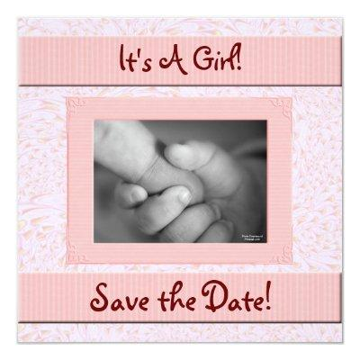 Baby Shower Save the Date Pink and Brown Girl Invitations