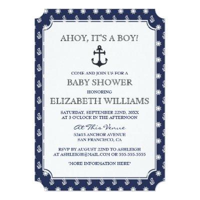 Baby Shower | Stylish Formal Navy Nautical Anchor Invitations