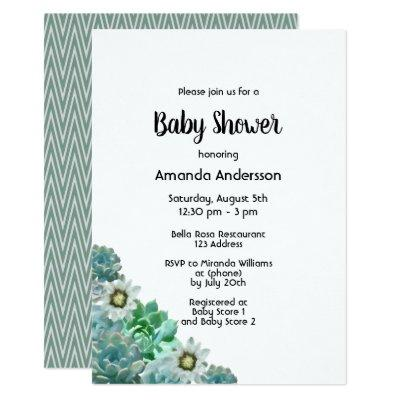 Baby Shower succulents cati flowers white green Invitation