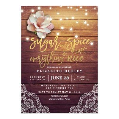 Baby Shower Sugar & Spice & Everything Nice Rustic Invitations