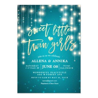 Baby Shower Sweet Little Twin Girls String Lights Invitation