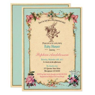 Baby shower tea party sip and see teal invitation