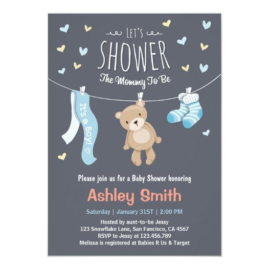 Baby Shower Teddy Bear Invitations Baby Boy