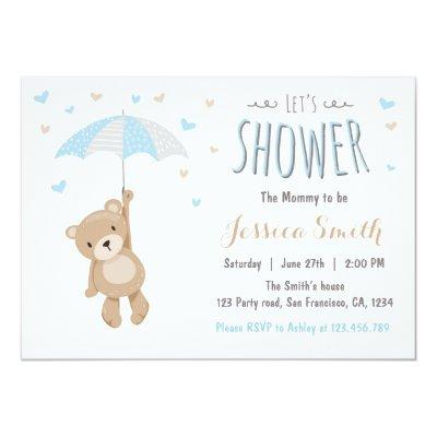 Baby Shower Teddy Bear Invitations Baby Boy blue