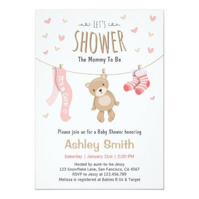 Baby Shower Teddy Bear Invitations Baby Girl pink