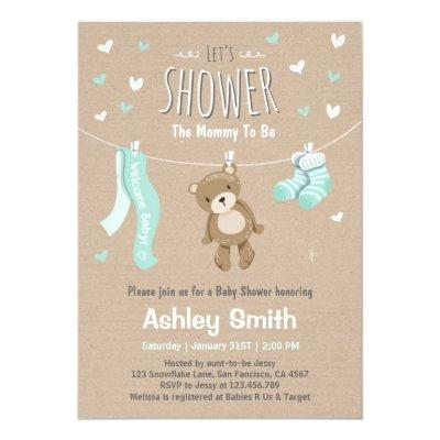 Baby Shower Teddy Bear Invitations Baby Mint Green