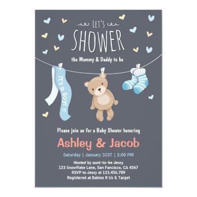 Baby Shower Teddy Bear Invitations Blue Boy shower