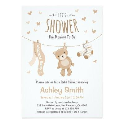 Baby Shower Teddy Bear Invitations Brown White