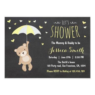 Baby Shower Teddy Bear Invitations Girl Boy Yellow