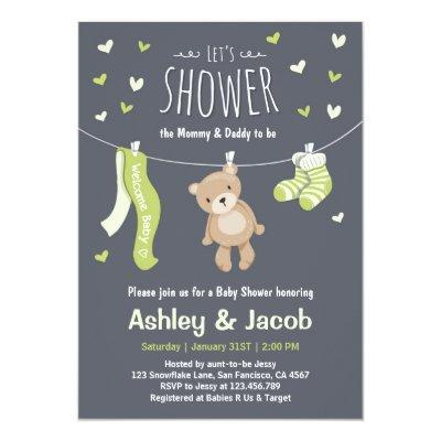 Baby Shower Teddy Bear Invitations Lime Green