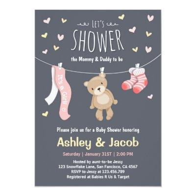 Baby Shower Teddy Bear Invitations Pink Girl shower