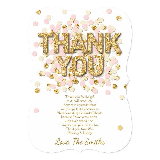 Baby Shower Thank You Card Confetti Gold pink girl