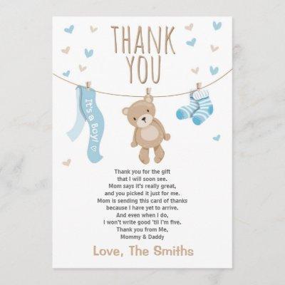 Baby Shower Thank You Invitations Teddy Bear blue