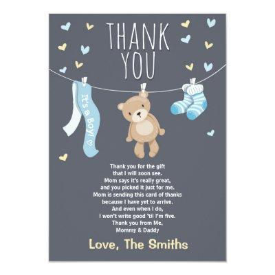 Baby Shower Thank You Invitations Teddy Bear blue