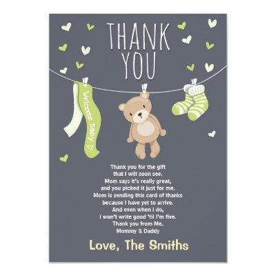 Baby Shower Thank You Invitations Teddy Bear Lime green