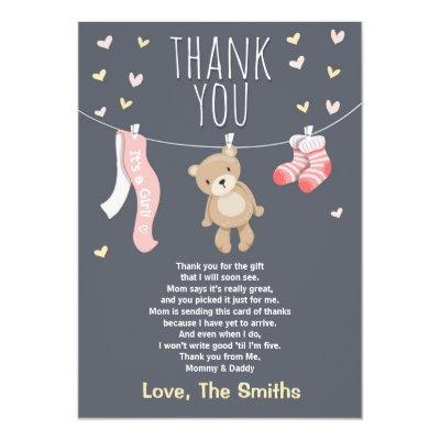 Baby Shower Thank You Invitations Teddy Bear pink girl