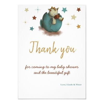 Baby shower thank you card with a dragon in an egg