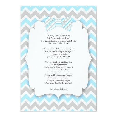 Baby shower thank you notes with poem blue gray Invitations